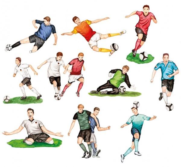 3-D Motive, Fußballer, 5-11cm, 10 Stück
