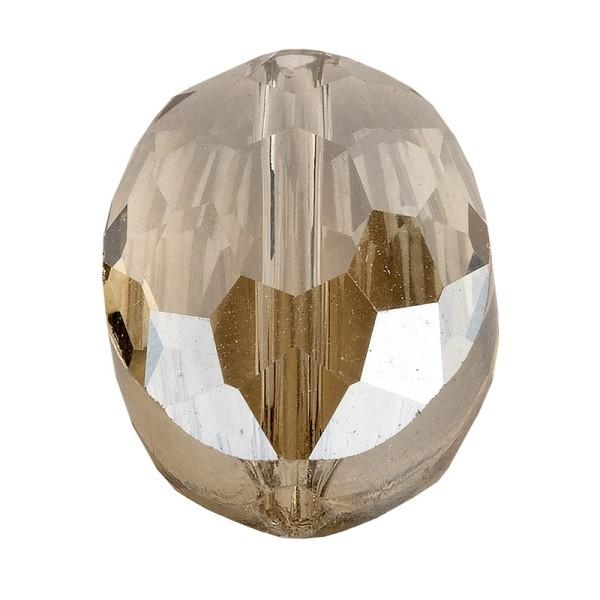 Perlen, oval, flach, 0,9cm x 1,2cm, facettiert, transparent, taupe, 25 Stück