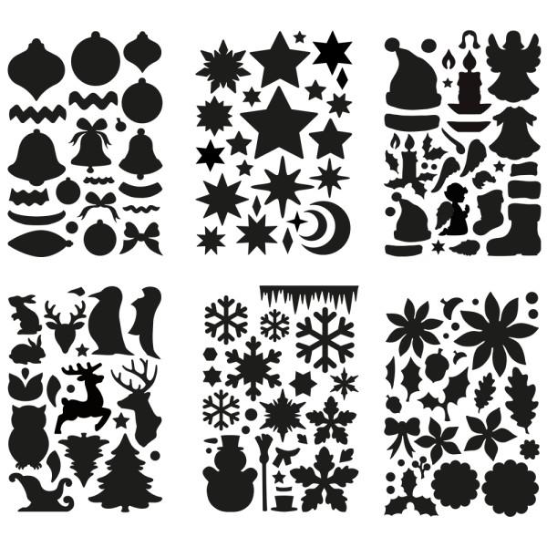 Laser-Kunststoff-Schablonen, DIN A4, Winter, Weihnachten, 6 Stück