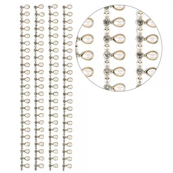 Premium-Schmuck-Bordüren, Tropfen, selbstklebend, 29cm, Glaskristallen, Halbperlen, hellgold