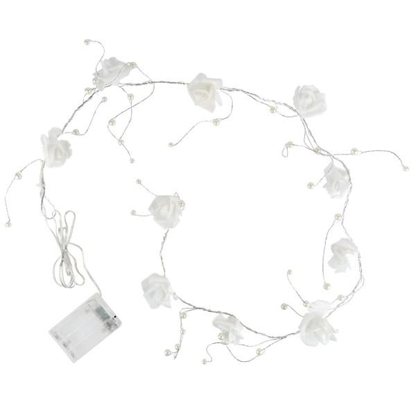 LED-Drahtlichterkette, Rosen & Perlen, weiß, 10 LED-Lämpchen in Warmweiß, inkl. Timer