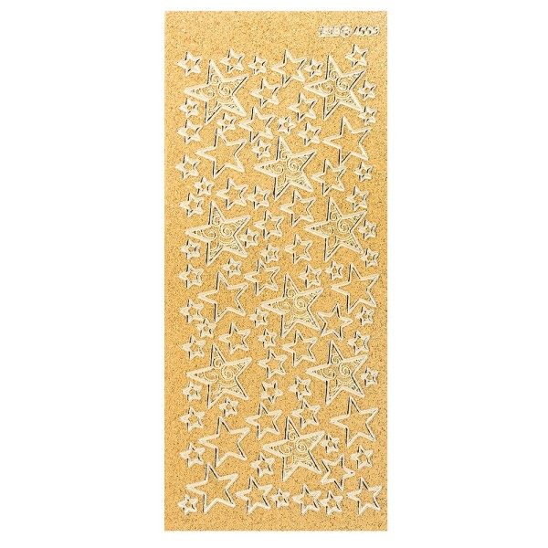 Microglitter-Sticker, Sterne 2, gold