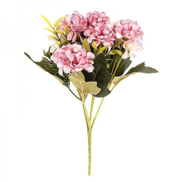 Blütenbusch, Hortensien 1, 27cm hoch, 9 große Blüten Ø 4cm, Rosatöne