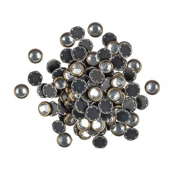 Hot-Fix Glas-Kristalle zum Aufbügeln, Ø 5mm, antikgold, 100 Stück