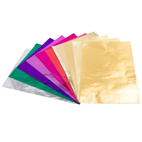 Decoupage-Metallicfolie, DIN A4, 10 Designs, 100 Bogen