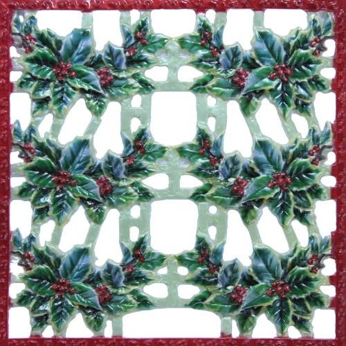 Wachsornament-Platte Ilex, farbig