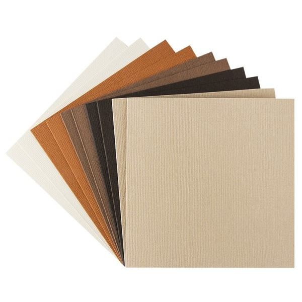"""Grußkarten """"Anna"""" in Leinen-Optik, 11x11cm, 5 Farben, Creme-/Brauntöne, inkl. Umschläge, 10 Stück"""