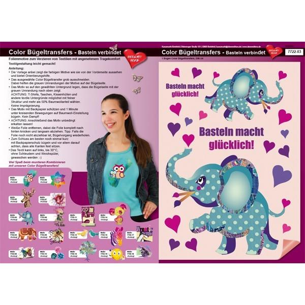 Color Bügeltransfers, DIN A4, Bastelspruch, Glücklicher Elefant