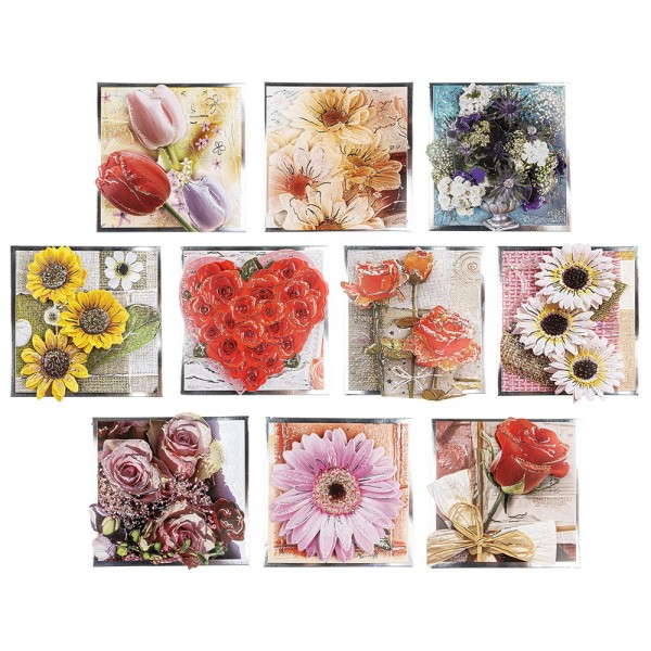 3-D Motive, Blumen-Grüße, Silber-Gravur, 8x8cm, 10 Motive
