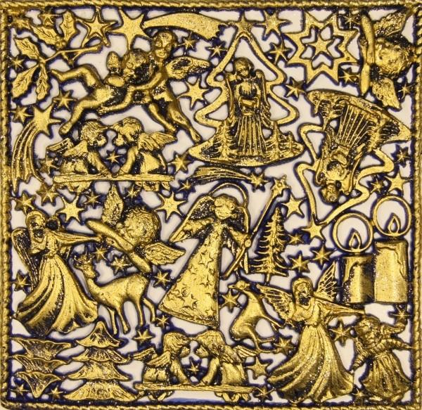 Wachsornament-Platte Weihnachten, 16 x 16 cm, royalblau angegoldet