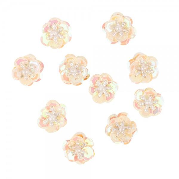 Paillettenblumen, Ø2cm, 10 Stück, lachs-irisierend