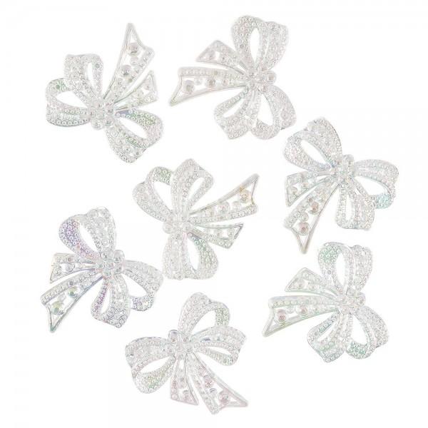 Kristallkunst-Schmucksteine, Schleife, 4,5cm x 4,5cm, transparent, irisierend, weiß, 7 Stück