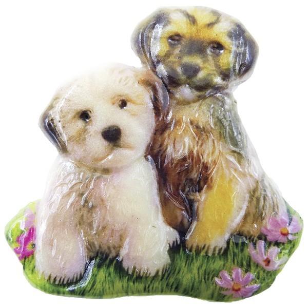 Wachsornament Hunde 7, farbig, geprägt, 7cm