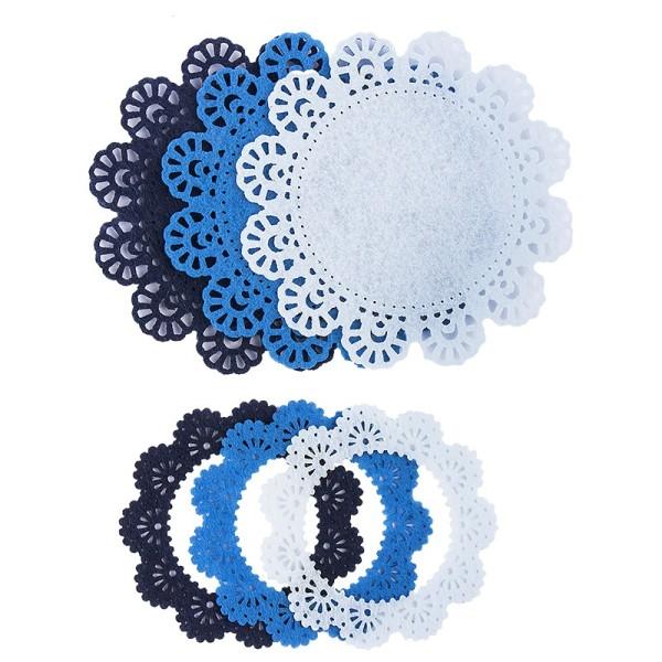 Folia Filzrähmchen, hellblau/blau/dunkelblau, Ø 7cm & 10cm, 6 Stück