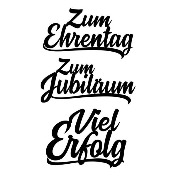 Stanzschablonen, Schriften, Zum Jubiläum, 4cm bis 8,1cm, 3 Stück