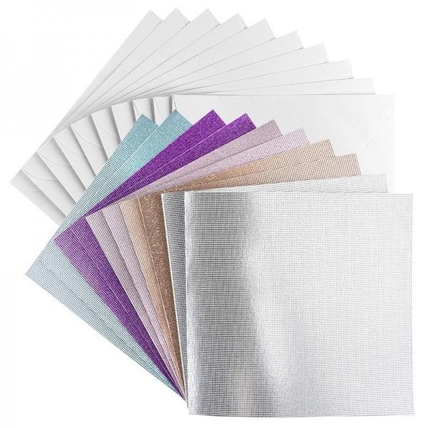 Grußkarten, Glitzer-Leinen, 16cm x 16cm, 5 Farben, inkl. Umschläge, 10 Stück