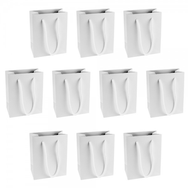 Geschenktaschen mit Henkel, 11cm x 14cm x 6cm, 210 g/m², weiß, 10 Stück