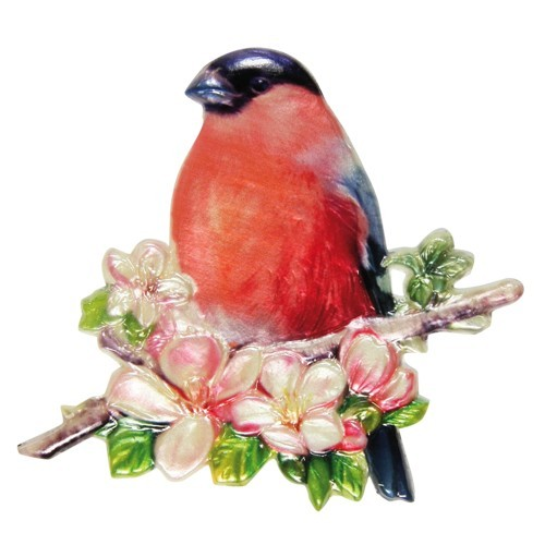 Wachsornament, Dompfaff, farbig, geprägt, 7,5x7,5cm