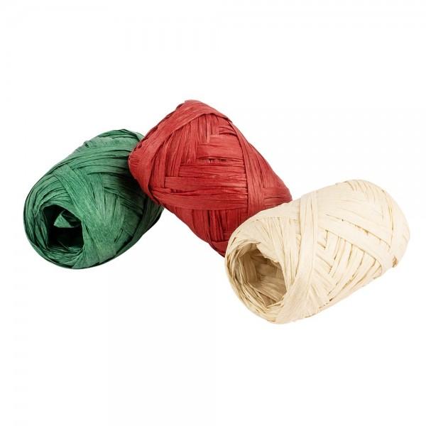Geschenkbänder Bast, 0,5 bis 3 cm breit (auffaltbar), verschiedene Farben, 10m lang, 3 Stück