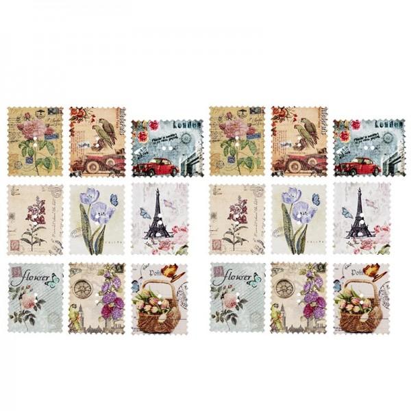 Deko-Kärtchen, Holz, 2,8cm x 3,5cm, versch. Motive, Briefmarken-Optik, 18 Stück