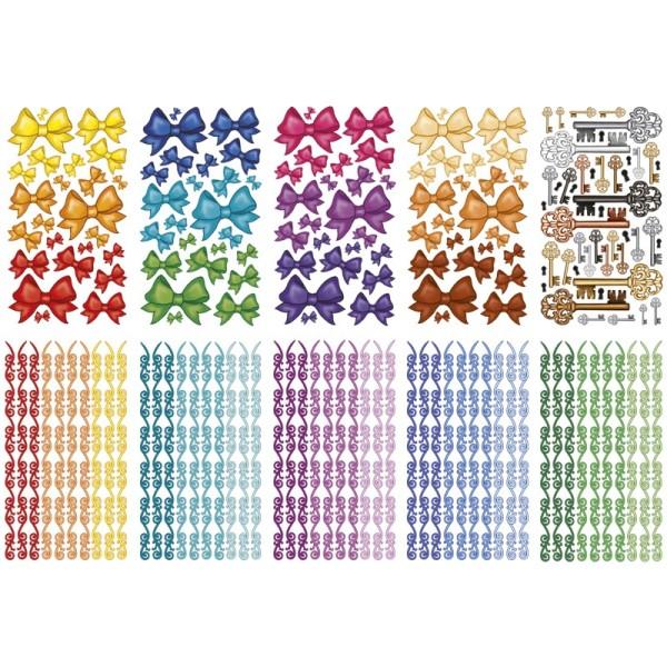 Glimmer-Relief-Sticker, Schleifen & mehr, 11,5x20cm, 10 Stück