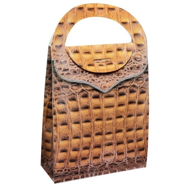 Geschenktasche Lederoptik, 4,5 x 11,5 x 20 cm, braun