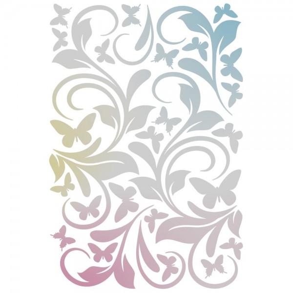 Folien-Bügeltransfer, Ornamente & Schmetterlinge, DIN A4, silber