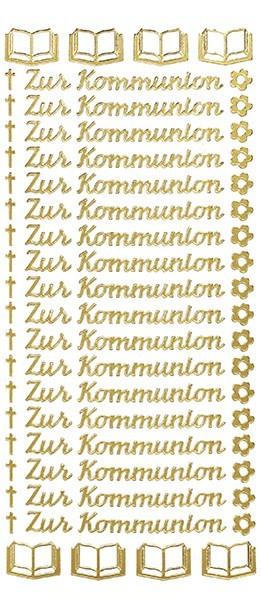 Sticker, Schrift,  Zur Kommunion, gold