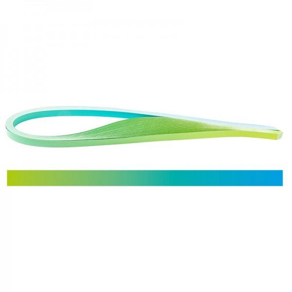 Quilling-Papierstreifen, Farbverlauf, 3 Größen (5mm, 7mm, 10mm), 54cm lang, hellblau/grün, 150 Stück