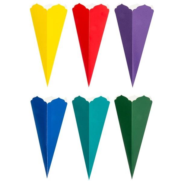Schultüten, Zierkante, 23cm hoch, Ø 9,5cm, Deko-Karton, verschiedene Farben, 6 Stüc