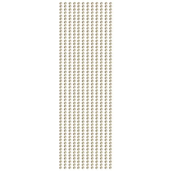 Glitzerstein-Bordüren, selbstklebend, Ø4mm, 29cm, 12 Stk., champagner