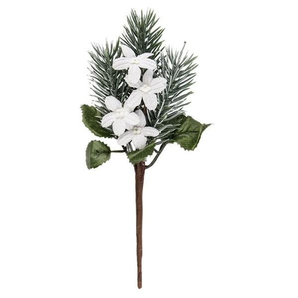 Deko-Tannenzweig, Eisblumen, 19cm lang, beschneit