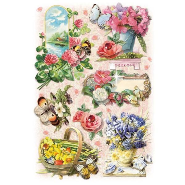 3-D Stickerbogen, Gartenblumen 6, 12,7 x 18,8 cm