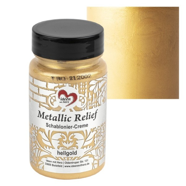 Metallic Relief, Schablonier-Creme, hellgold, 90ml
