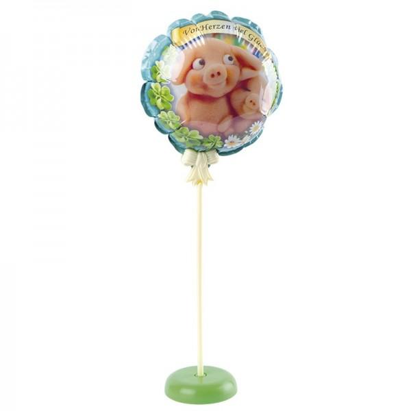 Zauber-Ballon mit Stab & Podest, Ø 11,5 cm, 31,5 cm hoch, Viel Glück
