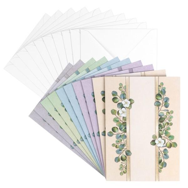 Motiv-Grußkarten, Blattranken, B6, 230 g/m², versch. Designs, inkl. Umschläge, 10 Stück