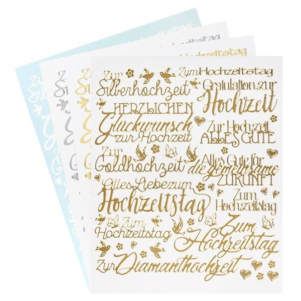 """Stickerbogen """"Handlettering Art"""", Hochzeit, gold, silber, weiß, 20cm x 23cm, 4 Bogen"""