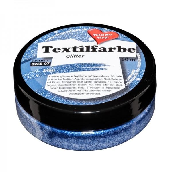 Textilfarbe, glitter, 50ml, blau