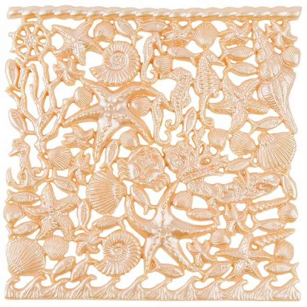 Wachsornament-Platte Maritim, 16cm x 16cm, lachs-perlmutt