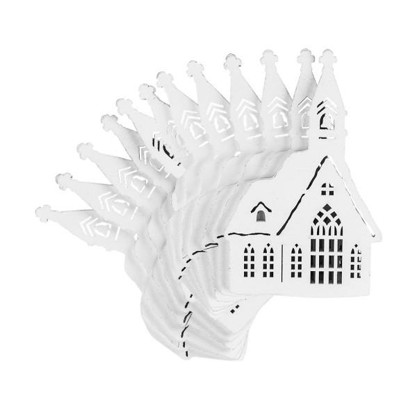 Kirchen, Holz, 13,4cm x 8,6cm x 0,5cm, weiß, 12 Stück