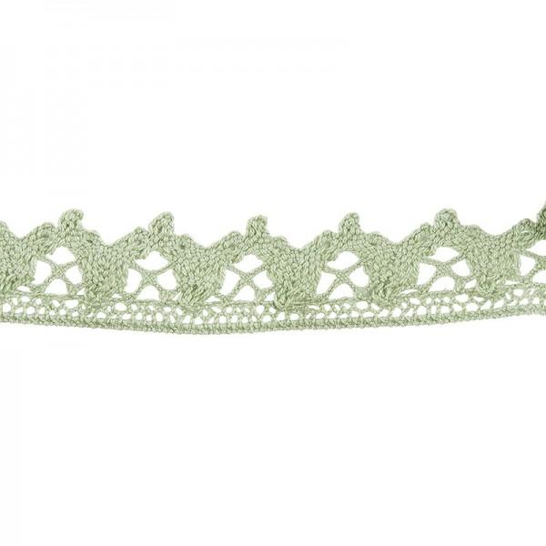 Häkelspitze Design 6, 2,1cm breit, 2m lang, grün