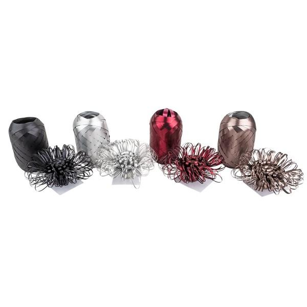 Geschenkband- & Schleifen-Mix, metallic, je 4 Schleifen & Geschenkbänder, verschiedene Farben