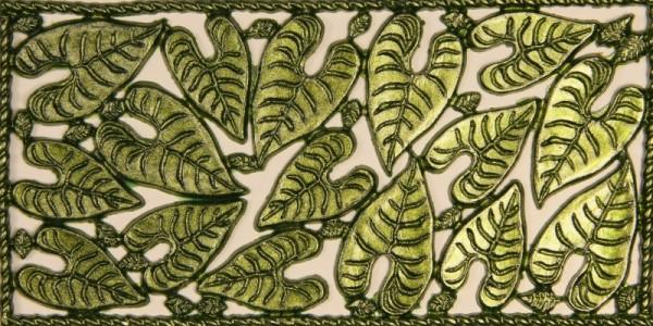Wachsornament-Platte, Herzblätter, 16 x 8 cm, grün