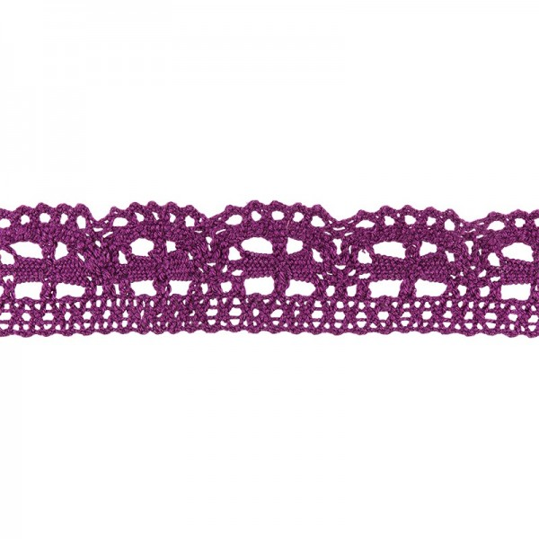 Häkelspitze Design 3, 2,4cm breit, 2m lang, aubergine