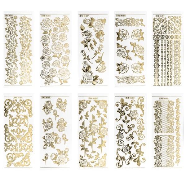 Gravur-Stickerbogen, Rosen, 10cm x 23cm, transparent/gold, 10 Bogen