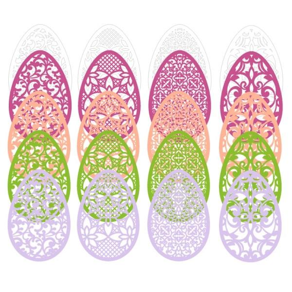 Laser-Kartenaufleger, Ostereier, 12,5cm x 8,5cm, 4 versch. Designs, 5 Farbtöne, 20 Stück