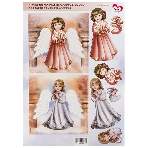 Stanzbogen Kartenaufleger, Engelchen mit Flügeln, inkl. passender 3-D Motiven