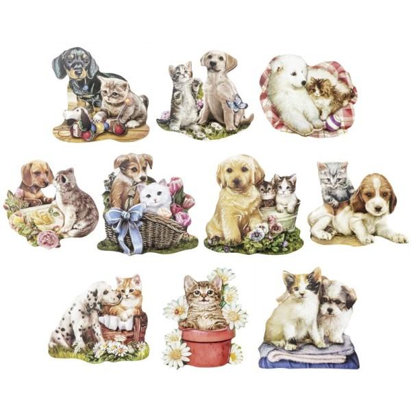 3-D Motive, Hund & Katze, Gold-Gravur, 7-8cm, 10 Motive