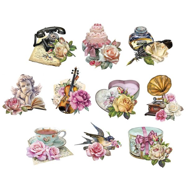 3-D Motive, Vintage-Rosengrüße, 7-10,5cm, 10 Motive