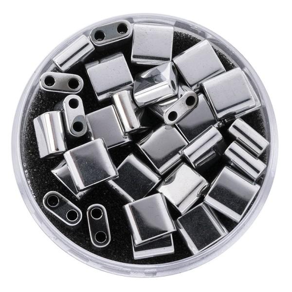 Hämatit-Perlen, Quadrat, 6mm x 6mm x 3mm, chromoptik-silber, 30 Stück